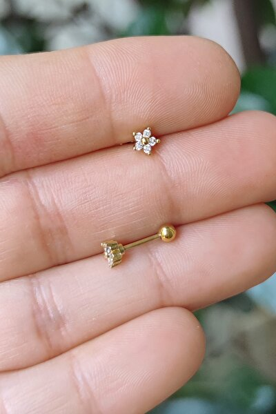 Cerrahi Çelik Kıkırdak Helix Tragus Piercing Mini Çiçek Figür Gold Renk(1 Adet) Symngocc