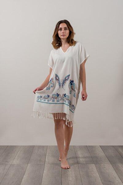 Fil Desenli Kadın Plaj Elbisesi