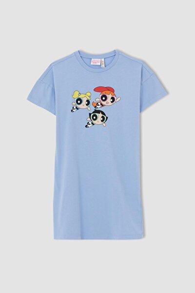 Kız Çocuk Powerpuff Girls Lisanslı Kısa Kollu Tişört Elbise