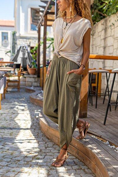 Kadın Haki Yıkamalı Keten Cepli Beli Lastikli Şalvar Pantolon GK-CCK58048ND