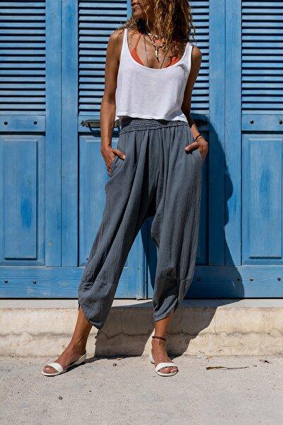 Kadın Gri Yıkamalı Keten Cepli Beli Lastikli Şalvar Pantolon GK-CCK58048ND