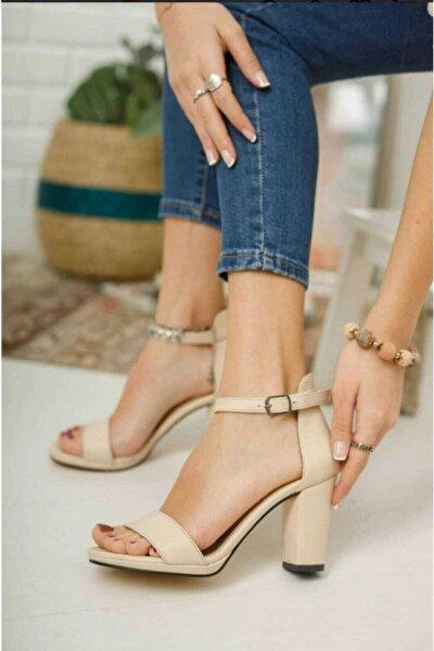 Kadın,bej Cilt, Tek Bantlı, Klasik Topuklu Platform Ayakkabı