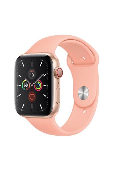 Apple Watch Kordon 2 3 4 5 6 Se Seri 38 Mm Ve 40 Mm Silikon Kordon Kayış - Pudra Pembe