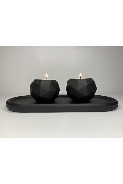 Beton El Yapımı Siyah Mumluk Set