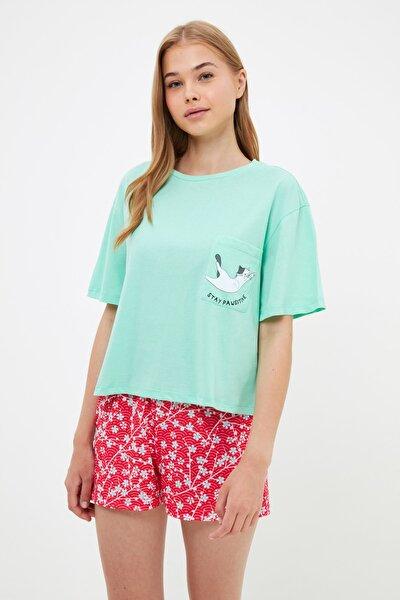 Kedi Baskılı Örme Pijama Takımı THMSS21PT1458