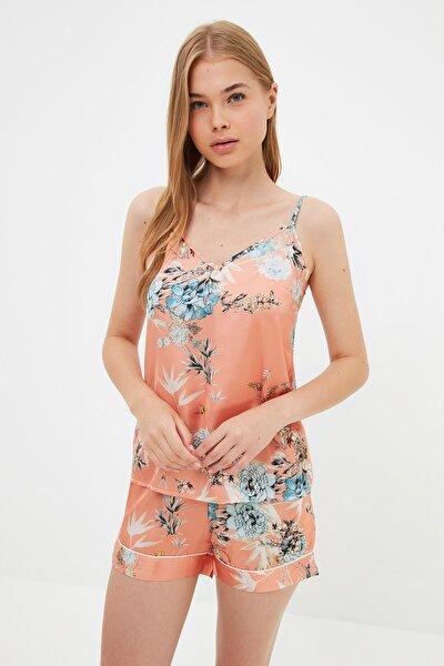 Şeftali Çiçek Desenli Saten Pijama Takımı THMSS21PT1335
