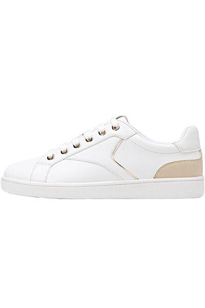 Kadın Beyaz Topuğu Parça Detaylı Beyaz Spor Ayakkabı