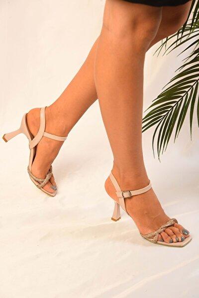 Kadın Ten Cilt Biyeli Rose Topuklu Ayakkabı