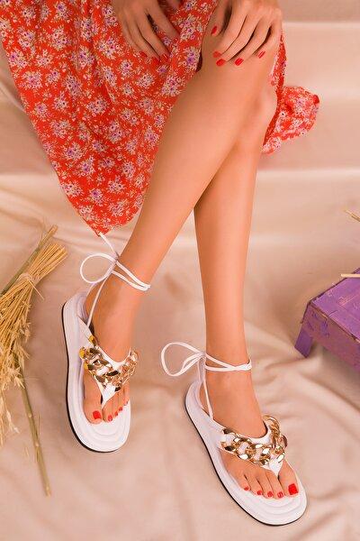 Beyaz Kadın Sandalet 16366