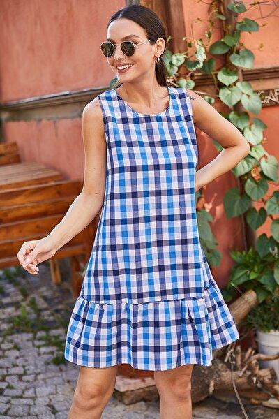 Kadın Saks Kareli Eteği Fırfırlı Kolsuz Kısa Elbise ARM-21Y001039