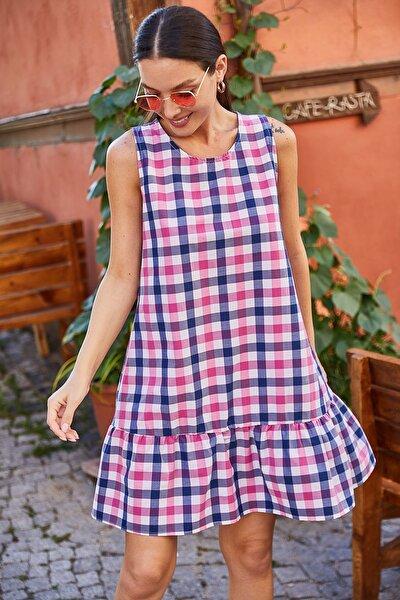 Kadın Pembe Kareli Eteği Fırfırlı Kolsuz Kısa Elbise ARM-21Y001039