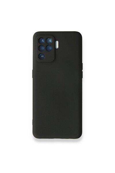 Reno 5 Lite Kılıf Nano Içi Kadife Silikon - Siyah