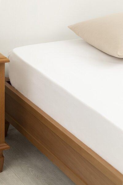 Düz 2 Pamuklu Çift Kişilik Lastikli Çarşaf 160X200 Cm Beyaz