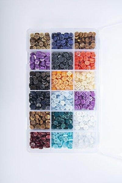 18 Renkli Parlak 1cm Basic Düğme Kutusu 500 Adet