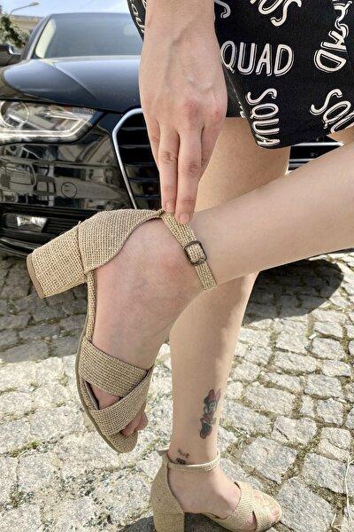 Kadın Hakiki Deri Hasır Bilekten Bağlamalı Sandalet
