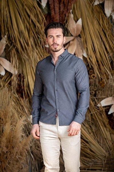 Erkek Gri Slim Fit Basic Gömlek N6033