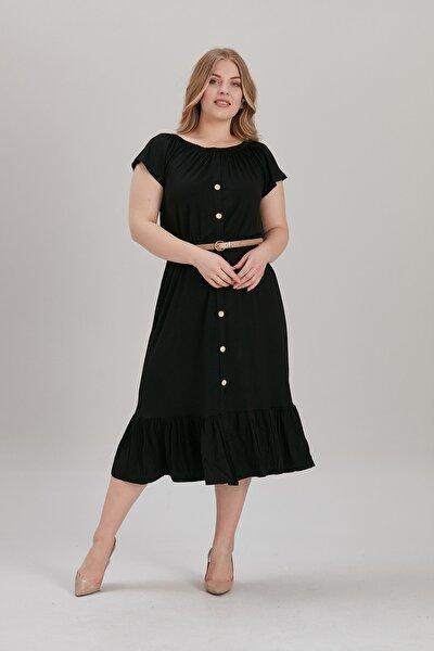 Kadın Siyah Büyük Beden Yaka Lastik Eteği Fırfır Lı Viskon Elbise (kemer Dahil Değil)