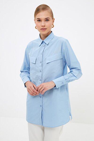 Mavi Gömlek Yaka Tesettür Tunik TCTSS21TN0059