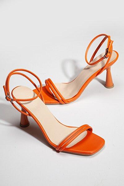 Kadın Yazlık Topuklu Ayakkabı H2244220 Turuncu