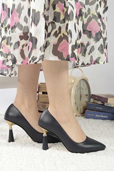 Kadın Lacivert Cilt Topuklu Ayakkabı