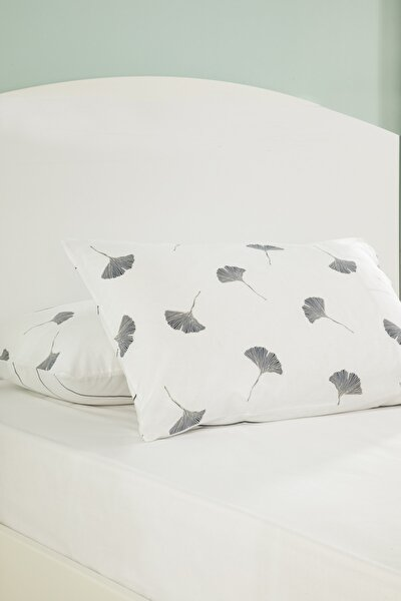Gingko Leaf Pamuklu 2'li Yastık Kılıfı 50x70 Cm Lacivert-Beyaz