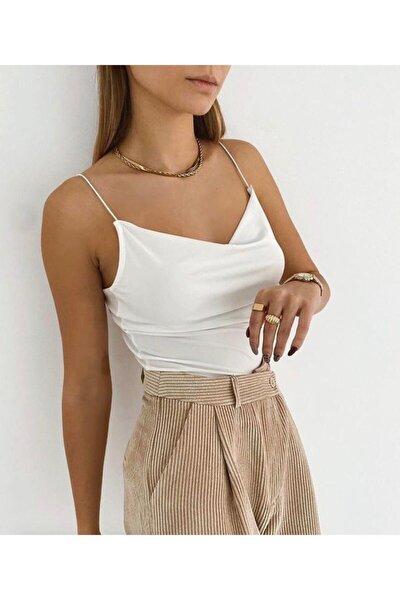 Kadın Beyaz Degaje Yaka Askılı Bluz