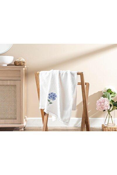 Hydrangea Garden Aplikeli Yüz Havlusu 50x80 cm Ekru Mavi