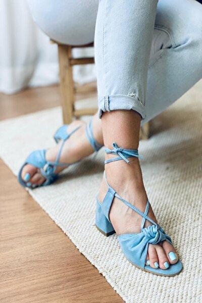 Bebe Mavi Süet Bağıcıklı Topuklu Ayakkabı