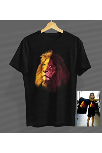 Aslan Tasarımlı Siyah Yuvarlak Yaka T-shirt