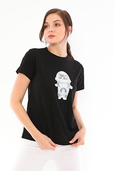 Siyah %100 Pamuk Bisiklet Yaka Basic Baskılı Astronot Kedi T-shirt