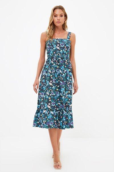 Lacivert Askılı Volanlı Çiçek Desenli Elbise TWOSS21EL1296
