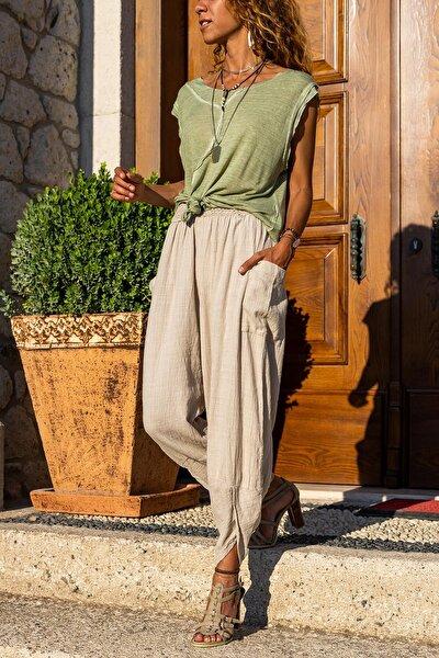 Kadın Bej Yıkamalı Keten Cepli Beli Lastikli Şalvar Pantolon GK-CCK58048ND