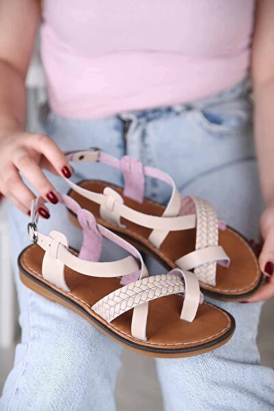 Kadın Baş Parmak Arası Hakiki Deri Sandalet Bej