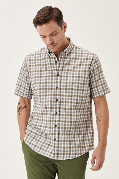 Erkek HAKI-BEJ Regular Fit Düğmeli Yaka Kısa Kollu %100 Koton Yazlık Gömlek