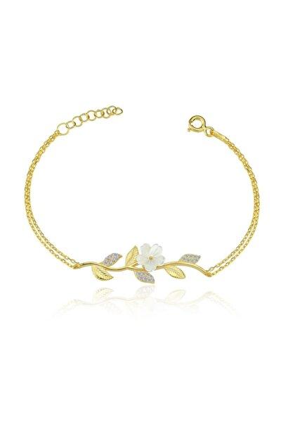 Manolya Çiçeği Demeti Gold Renk Gümüş Bileklik