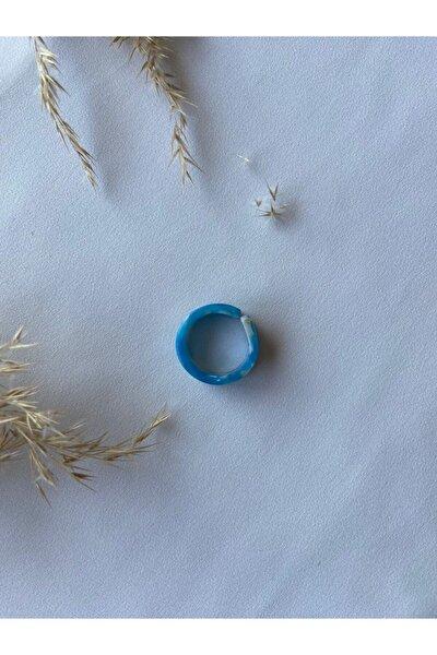 Şeffaf Koyu Mavi Çok Renkli Akrilik Yüzük