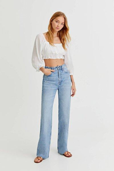 Dikişsiz Paça Straight Fit Jean