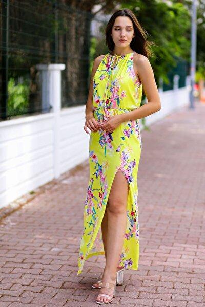Kadın Sarı Boyun Bağlamalı Çiçekli Elbise