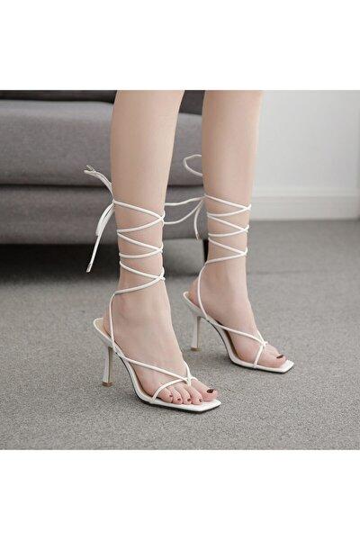 Kadın Beyaz Günlük Ayakkabı 10cm Topuklu Ipli Küt Kare Burunlu Stiletto Ayakkabı Sandalet Terlik