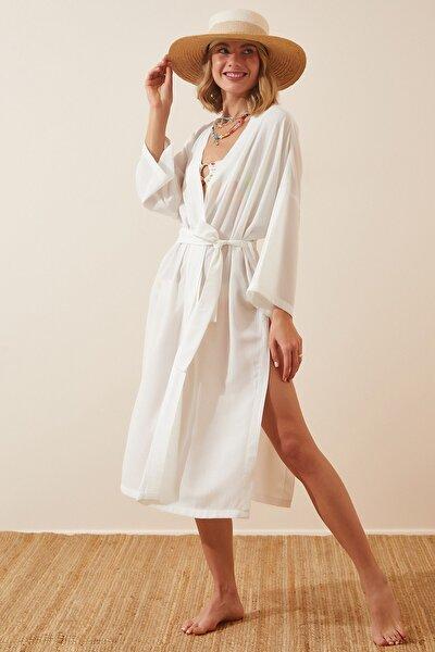 Kadın Beyaz Kuşaklı Krinkıl Viskon Kimono DD00958