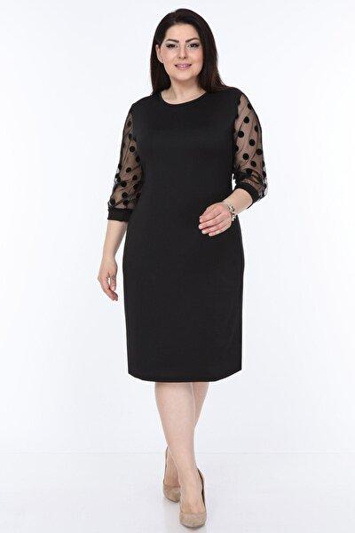 Kadın Siyah Puanlı Flok Kol Elbise 12e-08951