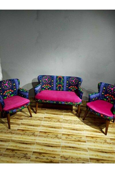 Etnik Desen Çay Seti Koltuk Takımı Salon Balkon Kafe Ofis Kollu Oturma Grubu