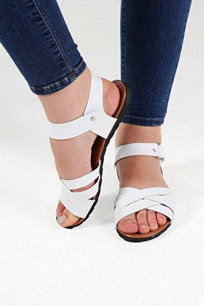Beyaz Deri Sandalet