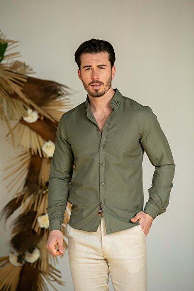 Erkek Haki Slim Fit Basic Gömlek N6033