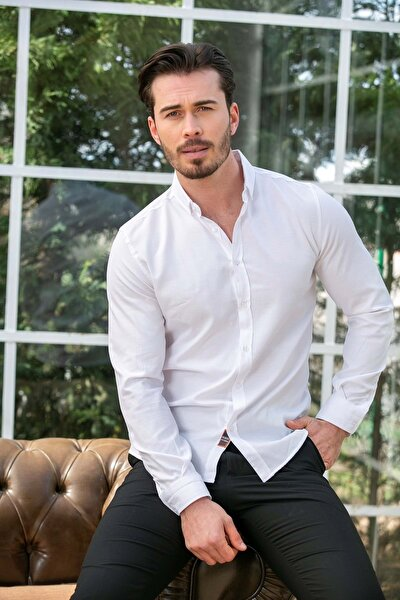 Erkek Beyaz Slim Fit Basic Gömlek N6033