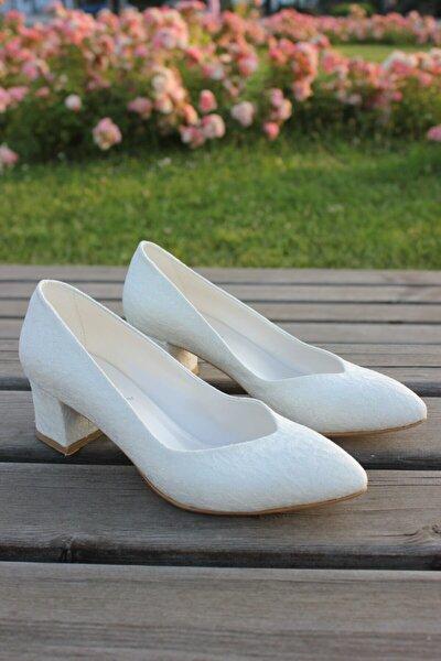 Kadın Alçak Topuklu Beyaz Nikah Gelinlik Ayakkabısı