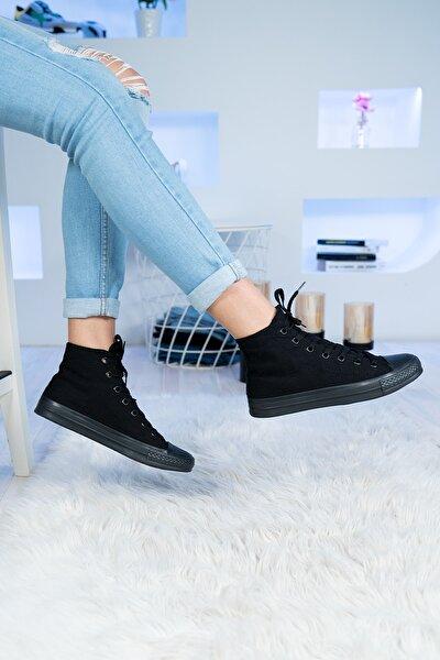 Bilekli Keten Spor Ayakkabılar 6 Renk Erkek Bayan Siyah