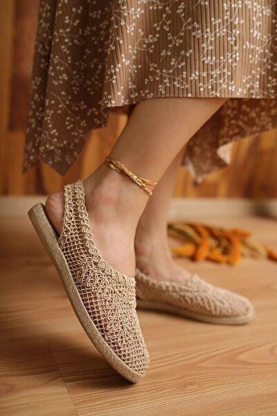 Kadın Bej Günlük Dantel Örgü Sandalet
