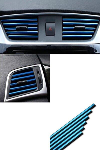 Araç Içi Klima Izgara Hava Çıkış Dekoratif Şeritler Klima Şerit Krom Mavi
