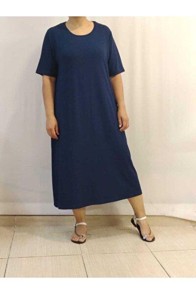 Kısa Kollu Penye Lacivert Elbise